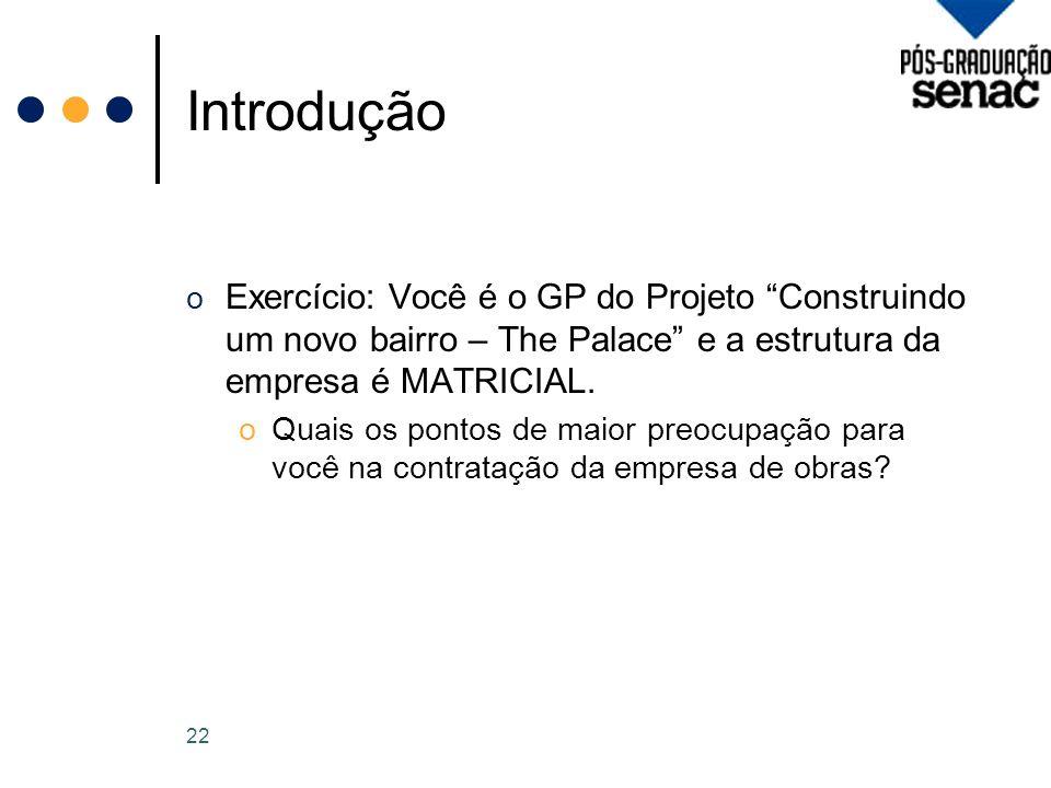 Introdução Exercício: Você é o GP do Projeto Construindo um novo bairro – The Palace e a estrutura da empresa é MATRICIAL.