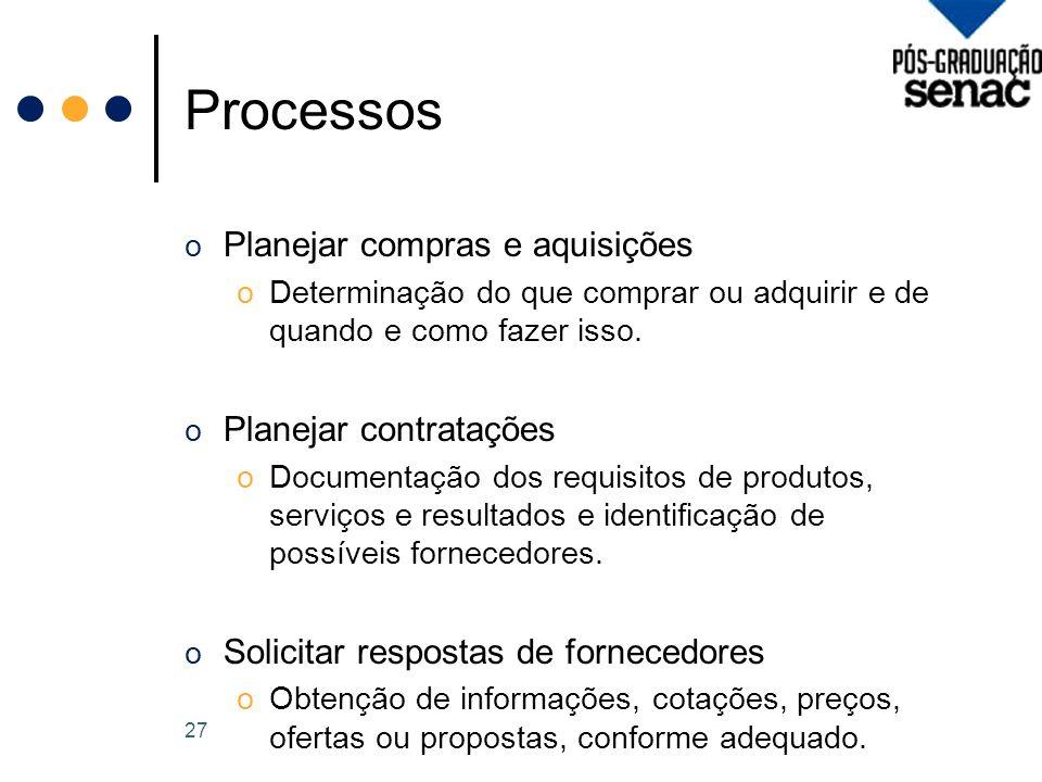 Processos Planejar compras e aquisições Planejar contratações