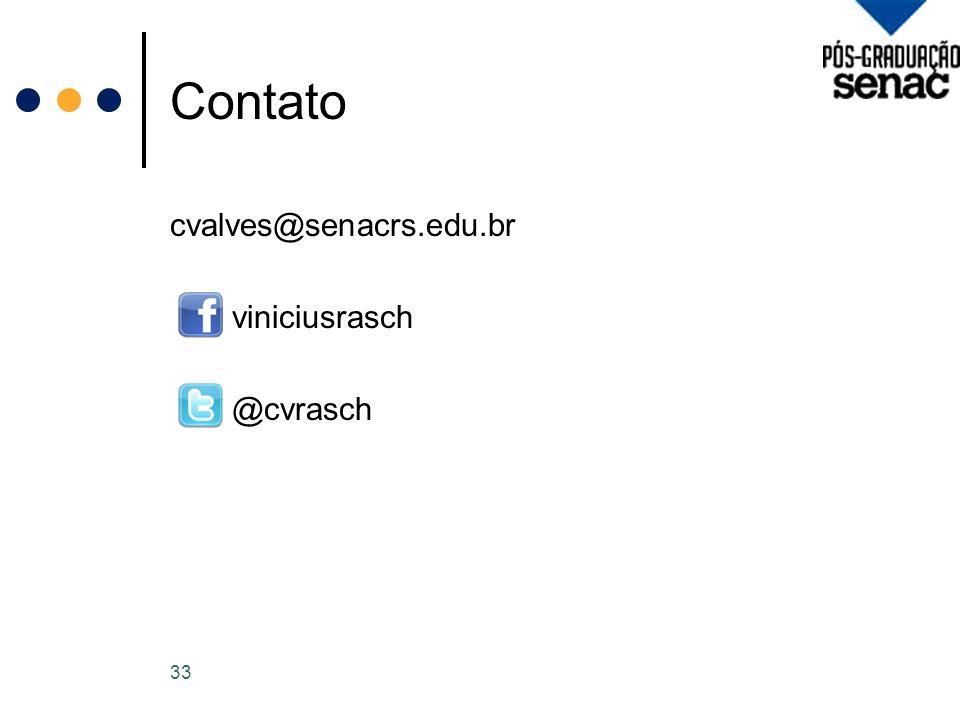 Contato cvalves@senacrs.edu.br viniciusrasch @cvrasch