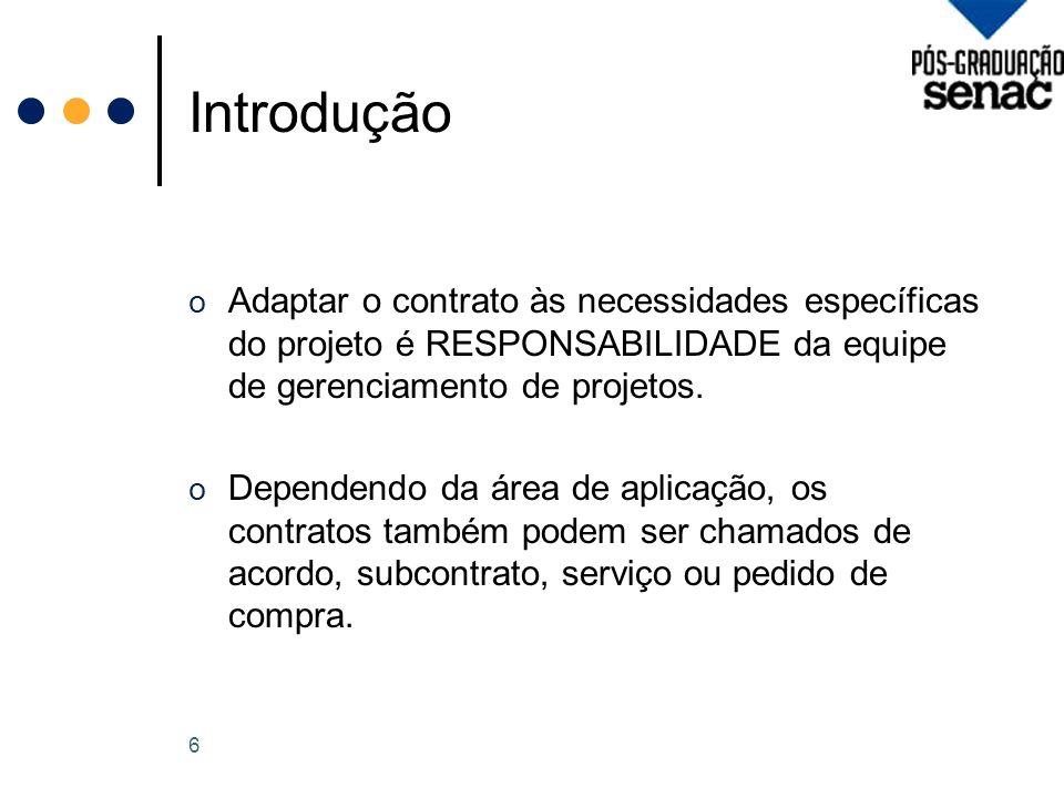 Introdução Adaptar o contrato às necessidades específicas do projeto é RESPONSABILIDADE da equipe de gerenciamento de projetos.