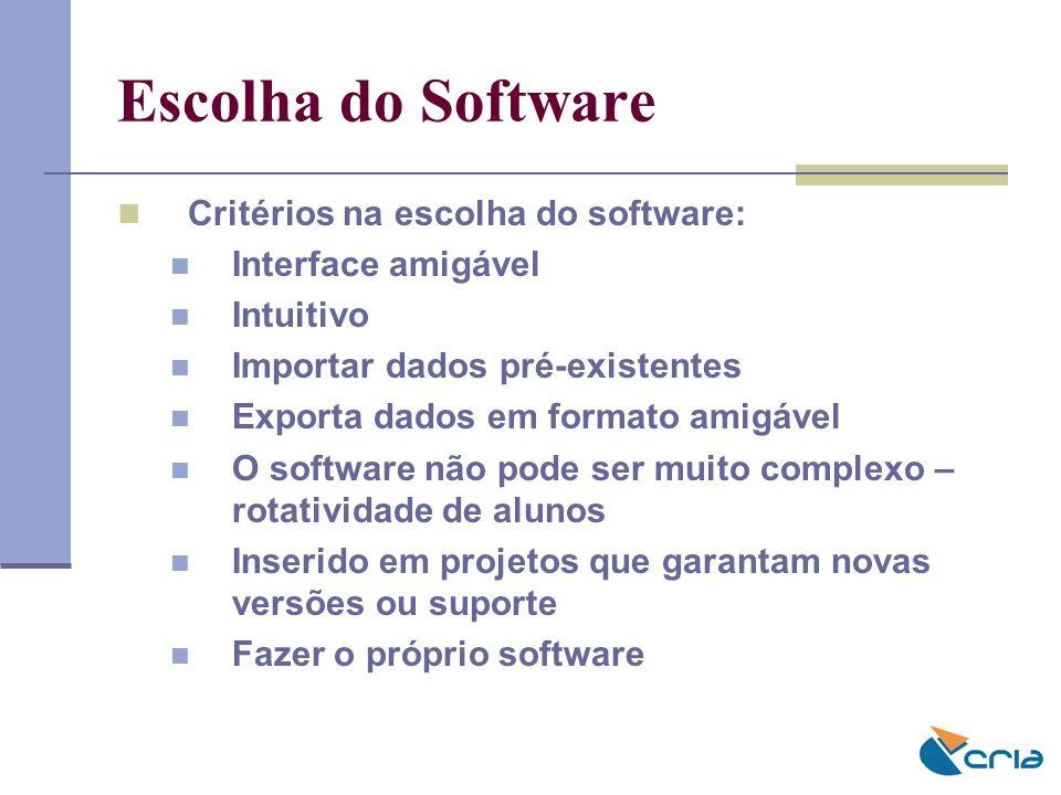 Escolha do Software Critérios na escolha do software: