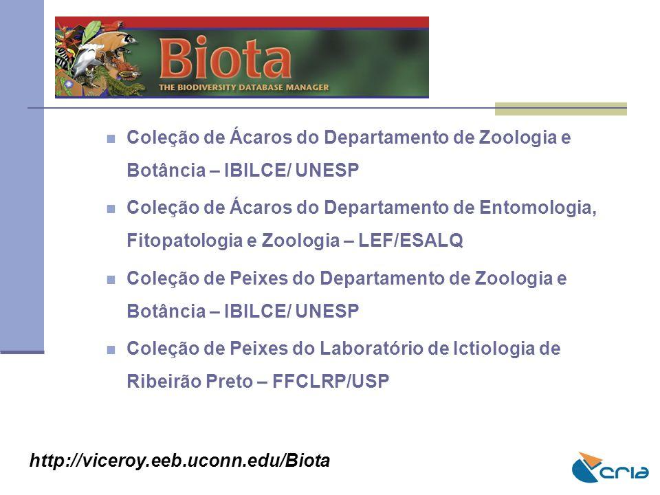 BIOTA Coleção de Ácaros do Departamento de Zoologia e Botância – IBILCE/ UNESP.