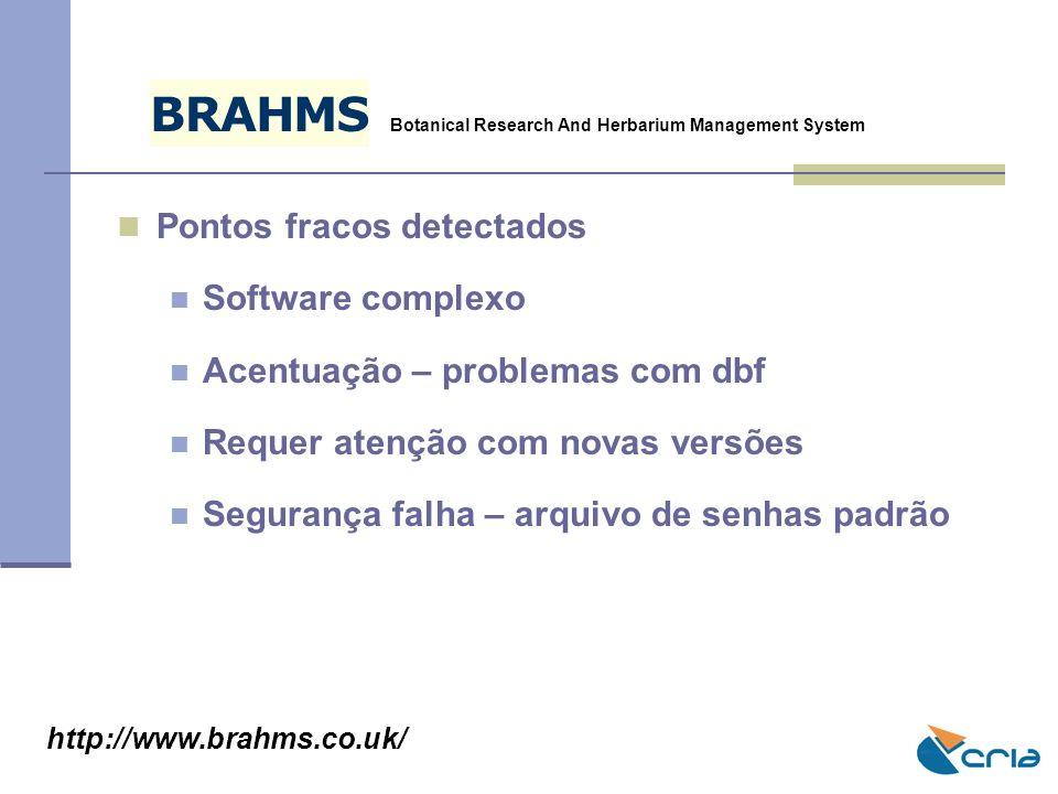 B R A H M S Pontos fracos detectados Software complexo