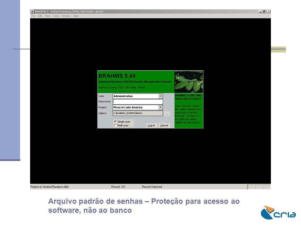 Arquivo padrão de senhas – Proteção para acesso ao software, não ao banco