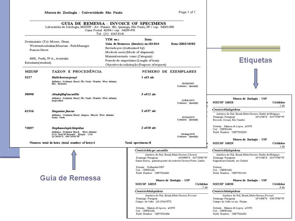 Etiquetas Guia de Remessa