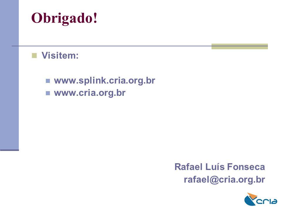 Obrigado! Visitem: www.splink.cria.org.br www.cria.org.br