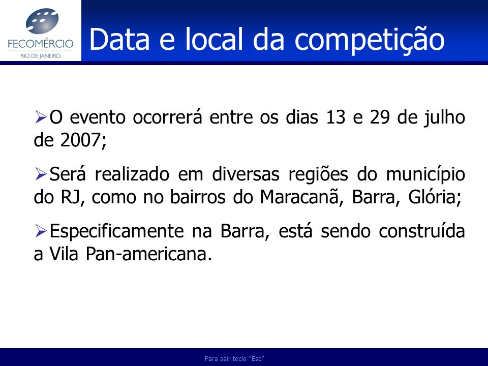 Data e local da competição