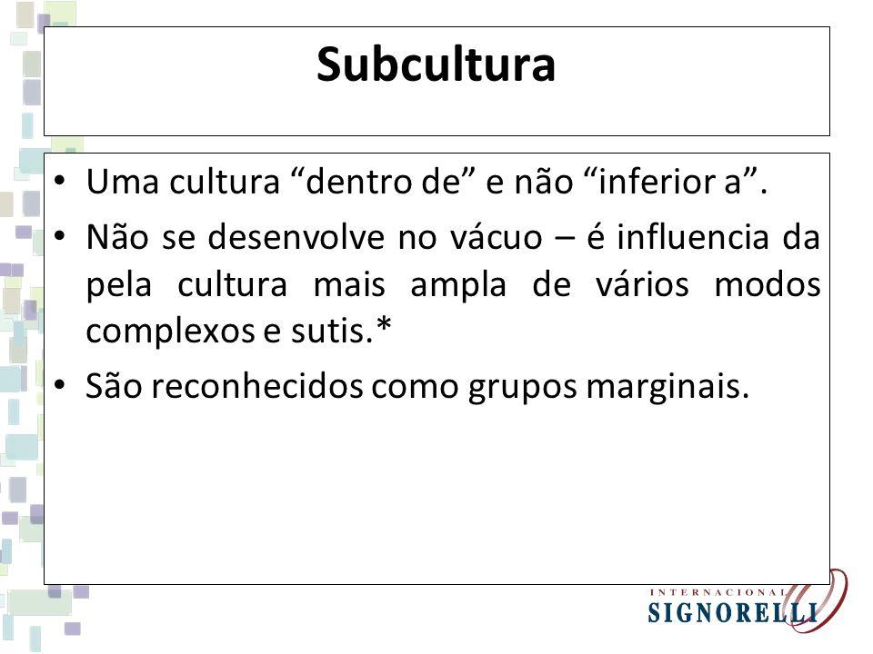 Subcultura Uma cultura dentro de e não inferior a .