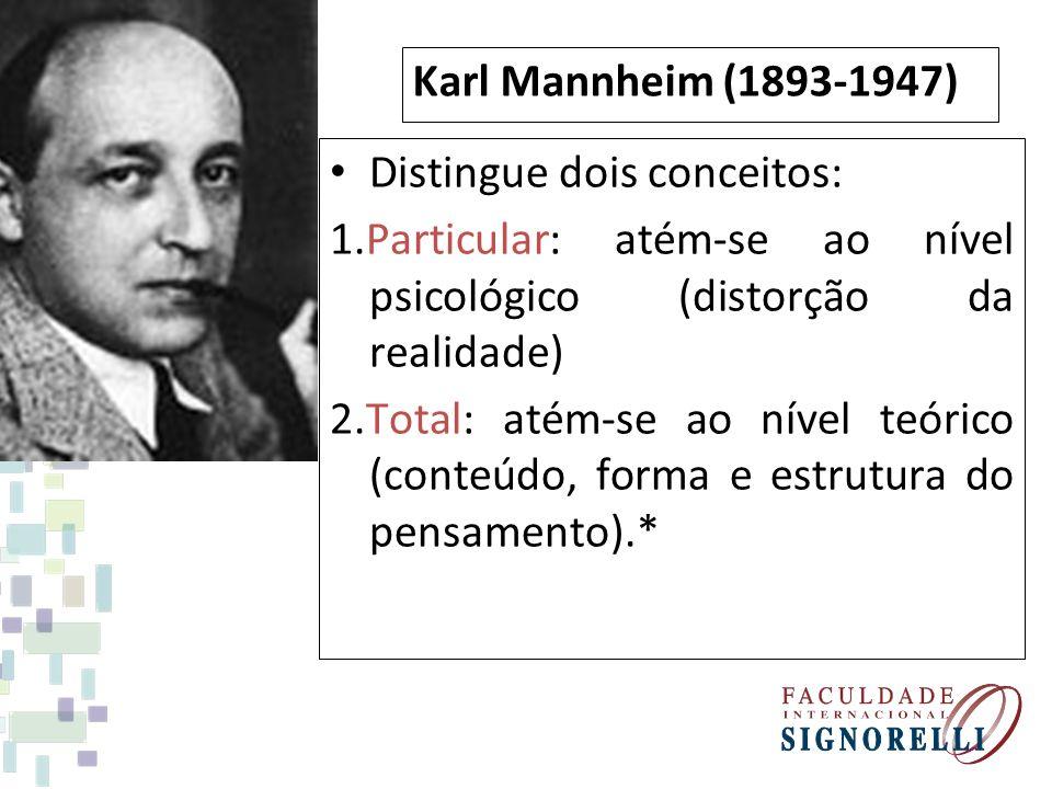 Karl Mannheim (1893-1947) Distingue dois conceitos: 1.Particular: atém-se ao nível psicológico (distorção da realidade)