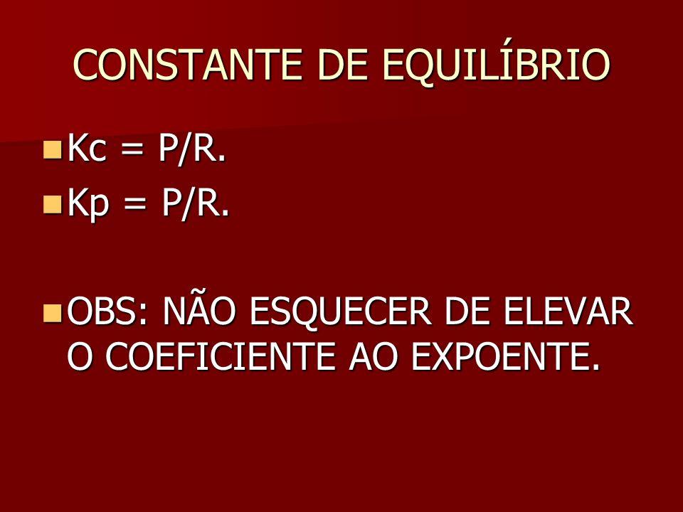 CONSTANTE DE EQUILÍBRIO