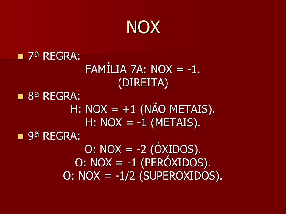 O: NOX = -1/2 (SUPEROXIDOS).