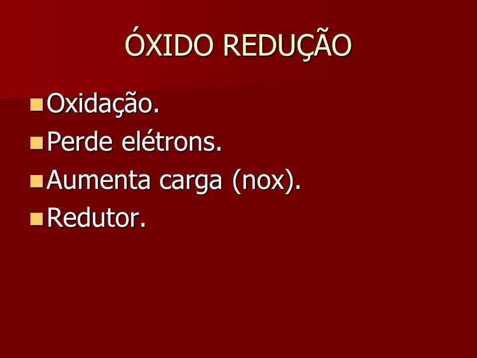 ÓXIDO REDUÇÃO Oxidação. Perde elétrons. Aumenta carga (nox). Redutor.