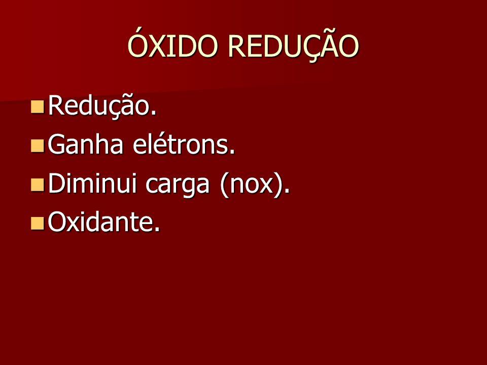 ÓXIDO REDUÇÃO Redução. Ganha elétrons. Diminui carga (nox). Oxidante.