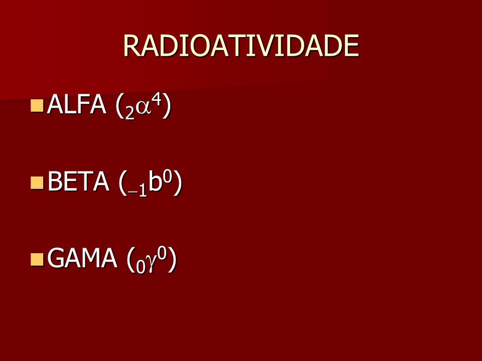 RADIOATIVIDADE ALFA (2a4) BETA (-1b0) GAMA (0g0)