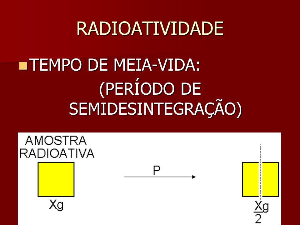 (PERÍODO DE SEMIDESINTEGRAÇÃO)