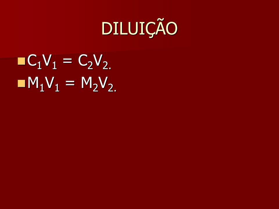 DILUIÇÃO C1V1 = C2V2. M1V1 = M2V2.