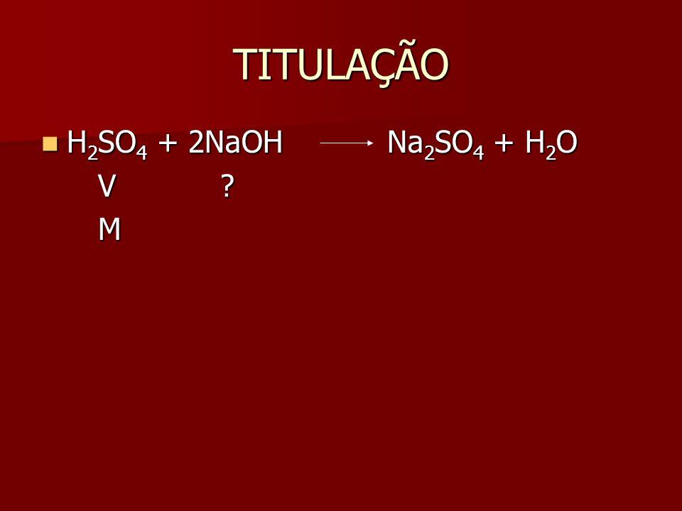 TITULAÇÃO H2SO4 + 2NaOH Na2SO4 + H2O V M