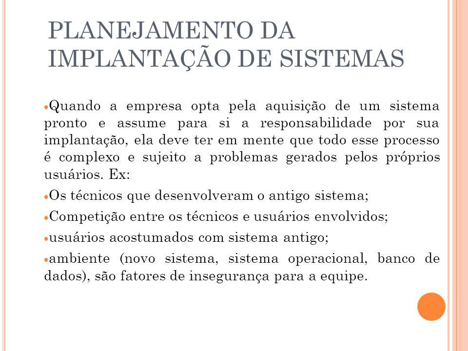 PLANEJAMENTO DA IMPLANTAÇÃO DE SISTEMAS