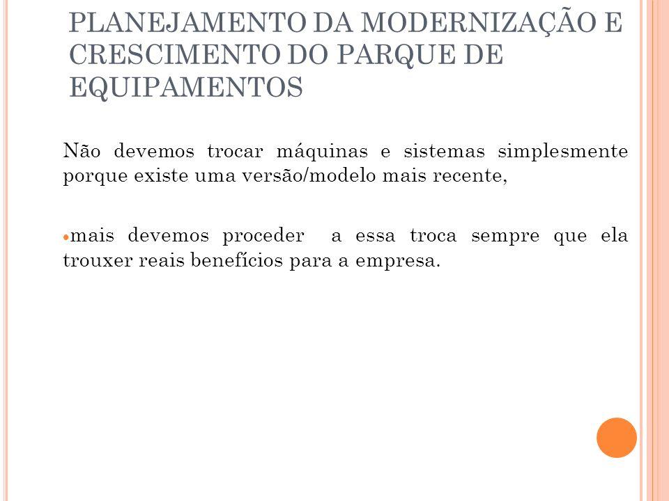PLANEJAMENTO DA MODERNIZAÇÃO E CRESCIMENTO DO PARQUE DE EQUIPAMENTOS
