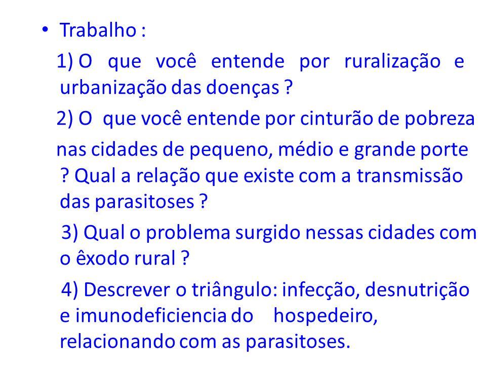 Trabalho : 1) O que você entende por ruralização e urbanização das doenças 2) O que você entende por cinturão de pobreza.