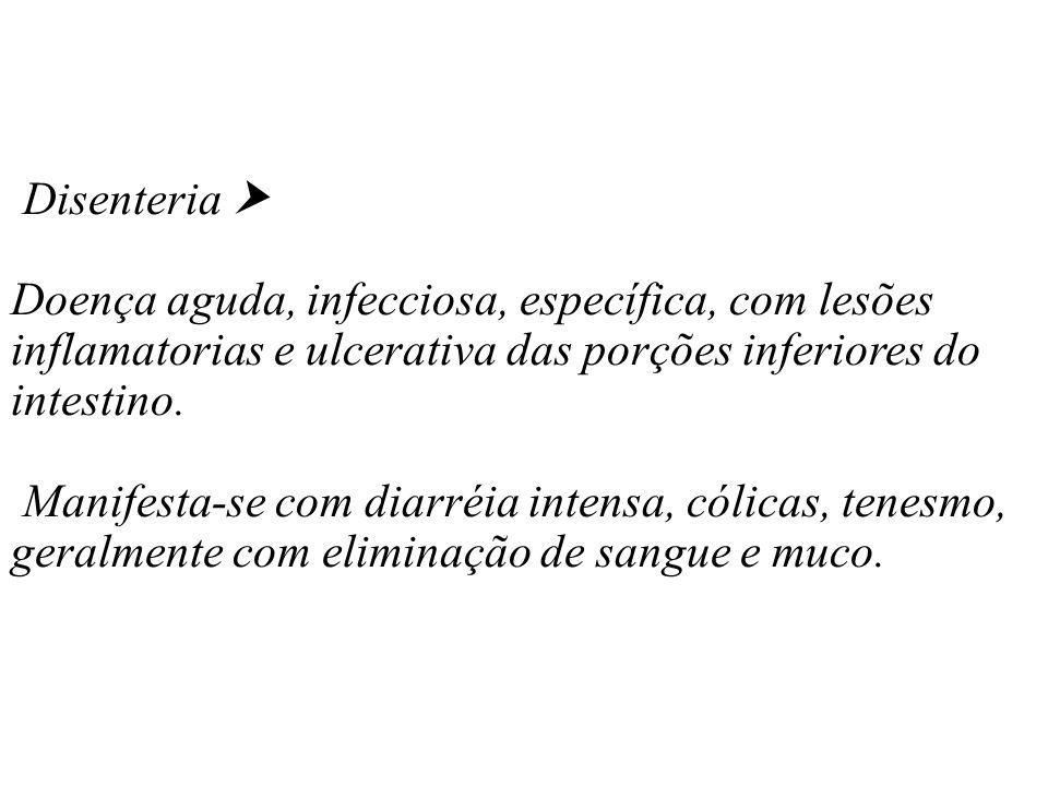 Disenteria  Doença aguda, infecciosa, específica, com lesões inflamatorias e ulcerativa das porções inferiores do intestino.