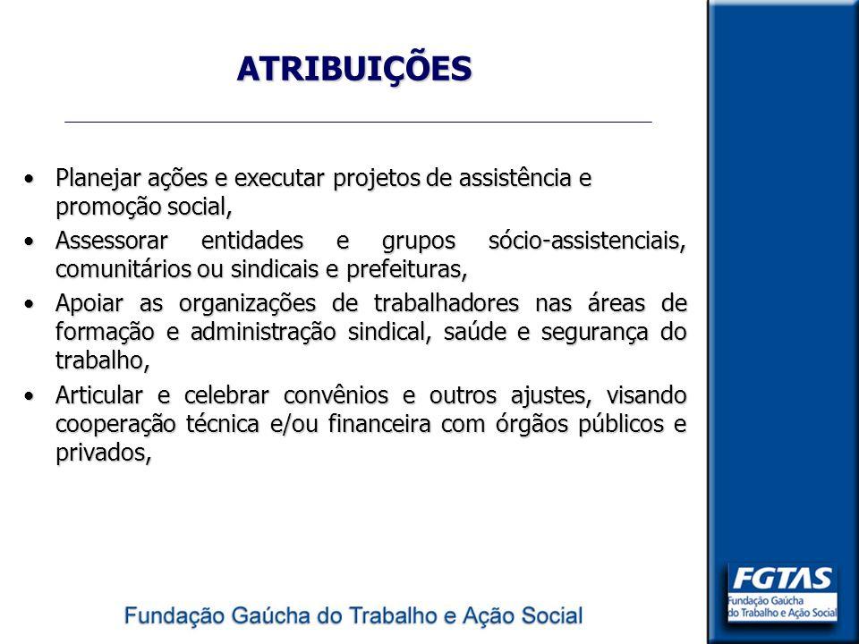 ATRIBUIÇÕES Planejar ações e executar projetos de assistência e promoção social,