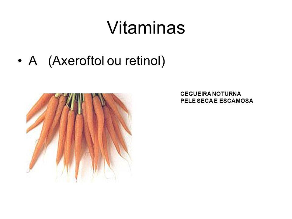 Vitaminas A (Axeroftol ou retinol) CEGUEIRA NOTURNA
