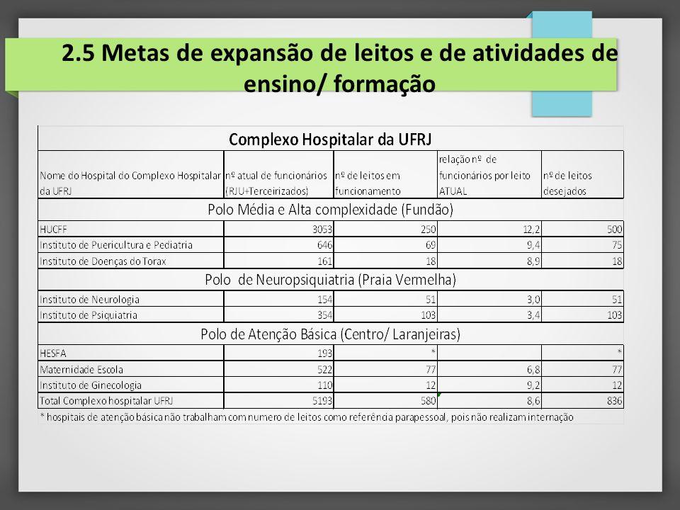 2.5 Metas de expansão de leitos e de atividades de ensino/ formação
