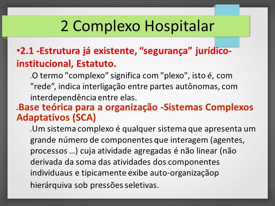 2 Complexo Hospitalar 2.1 -Estrutura já existente, segurança jurídico-institucional, Estatuto.