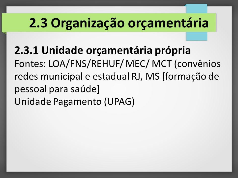 2.3 Organização orçamentária
