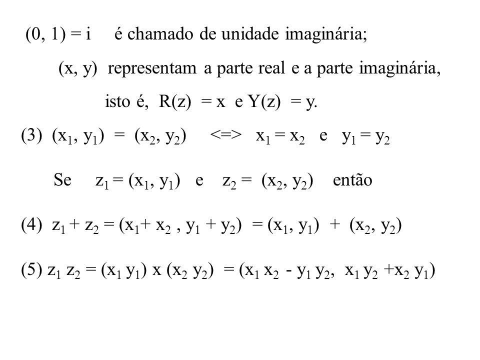 (0, 1) = i é chamado de unidade imaginária;