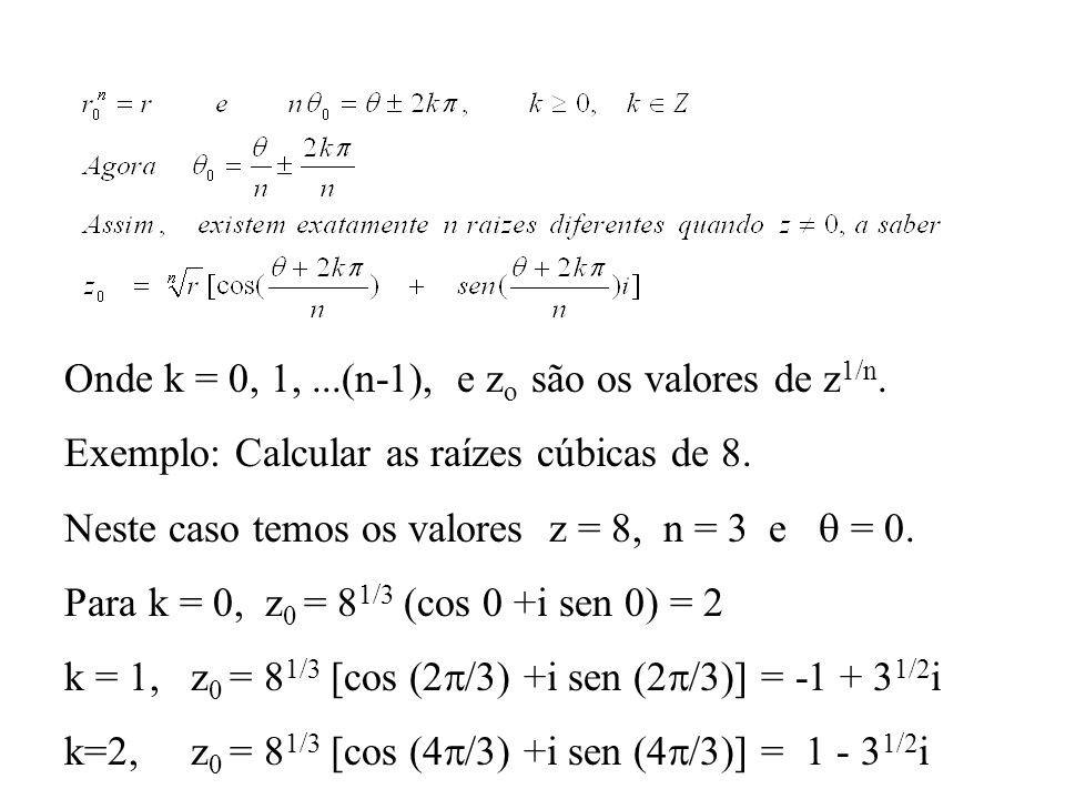 Onde k = 0, 1, ...(n-1), e zo são os valores de z1/n.