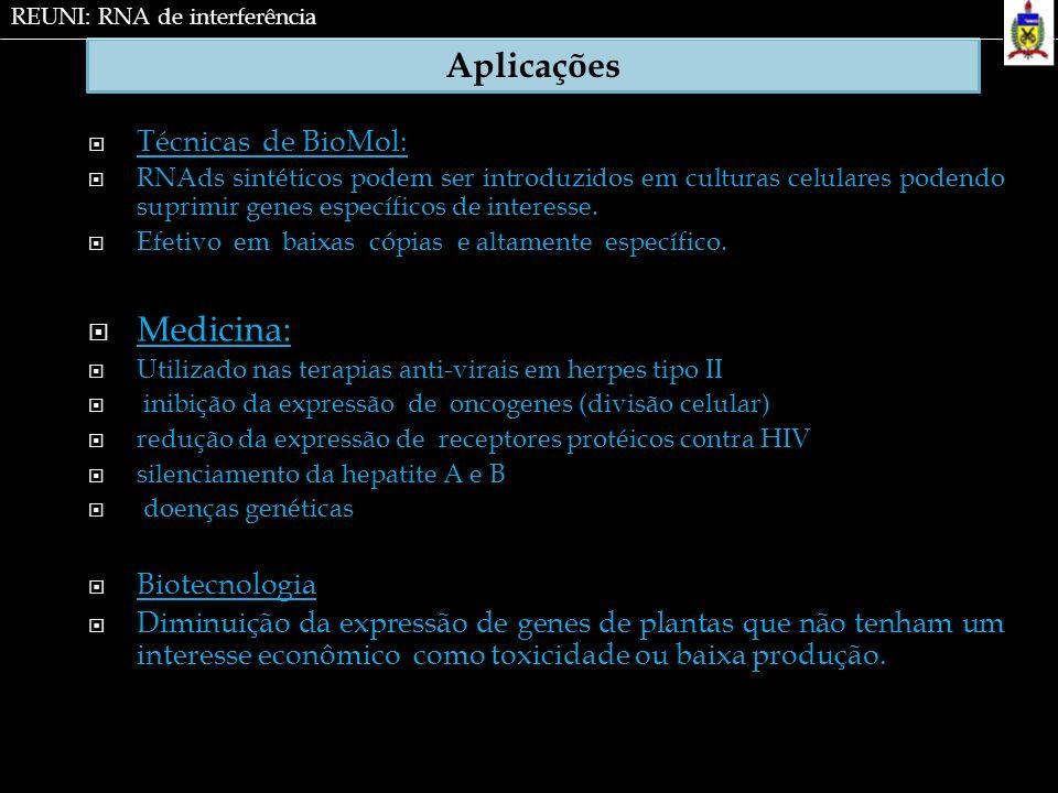 Aplicações Medicina: Técnicas de BioMol: Biotecnologia
