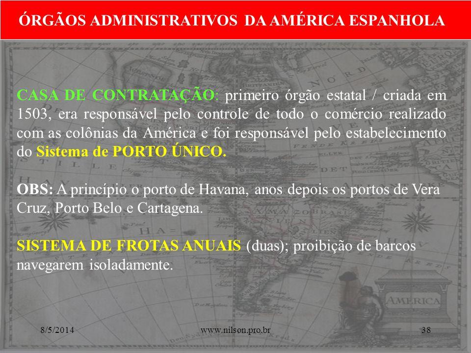 ÓRGÃOS ADMINISTRATIVOS DA AMÉRICA ESPANHOLA