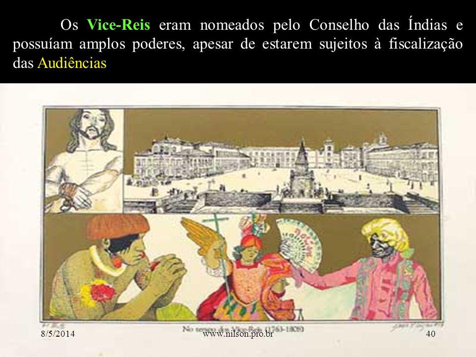 Os Vice-Reis eram nomeados pelo Conselho das Índias e possuíam amplos poderes, apesar de estarem sujeitos à fiscalização das Audiências