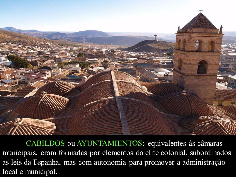 CABILDOS ou AYUNTAMIENTOS: equivalentes às câmaras municipais, eram formadas por elementos da elite colonial, subordinados as leis da Espanha, mas com autonomia para promover a administração local e municipal.