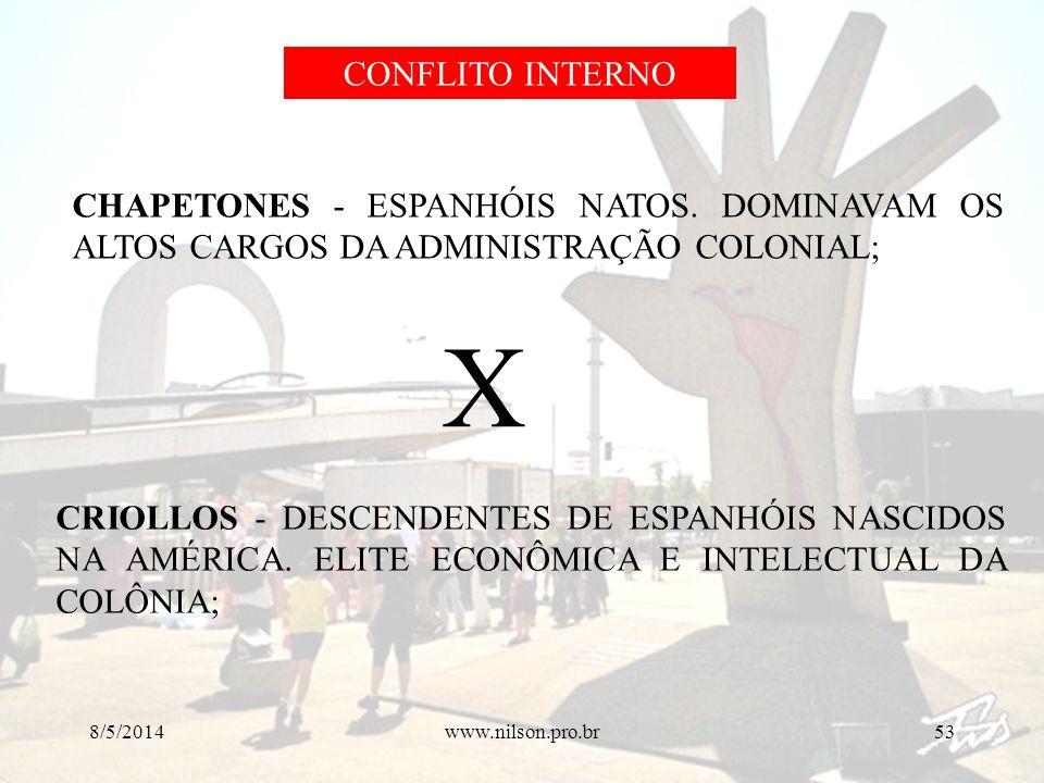 CONFLITO INTERNO CHAPETONES - ESPANHÓIS NATOS. DOMINAVAM OS ALTOS CARGOS DA ADMINISTRAÇÃO COLONIAL;