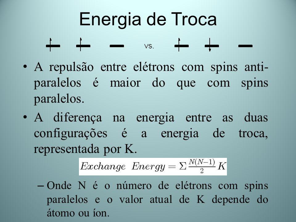 Energia de Troca A repulsão entre elétrons com spins anti-paralelos é maior do que com spins paralelos.