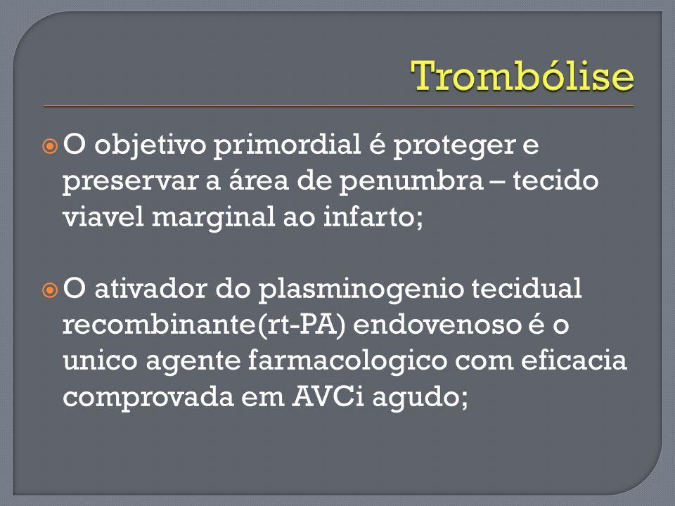 Trombólise O objetivo primordial é proteger e preservar a área de penumbra – tecido viavel marginal ao infarto;