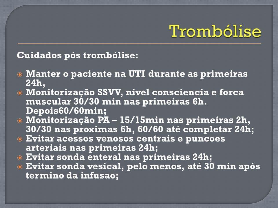 Trombólise Cuidados pós trombólise: