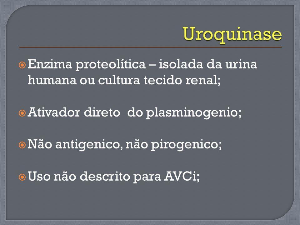Uroquinase Enzima proteolítica – isolada da urina humana ou cultura tecido renal; Ativador direto do plasminogenio;