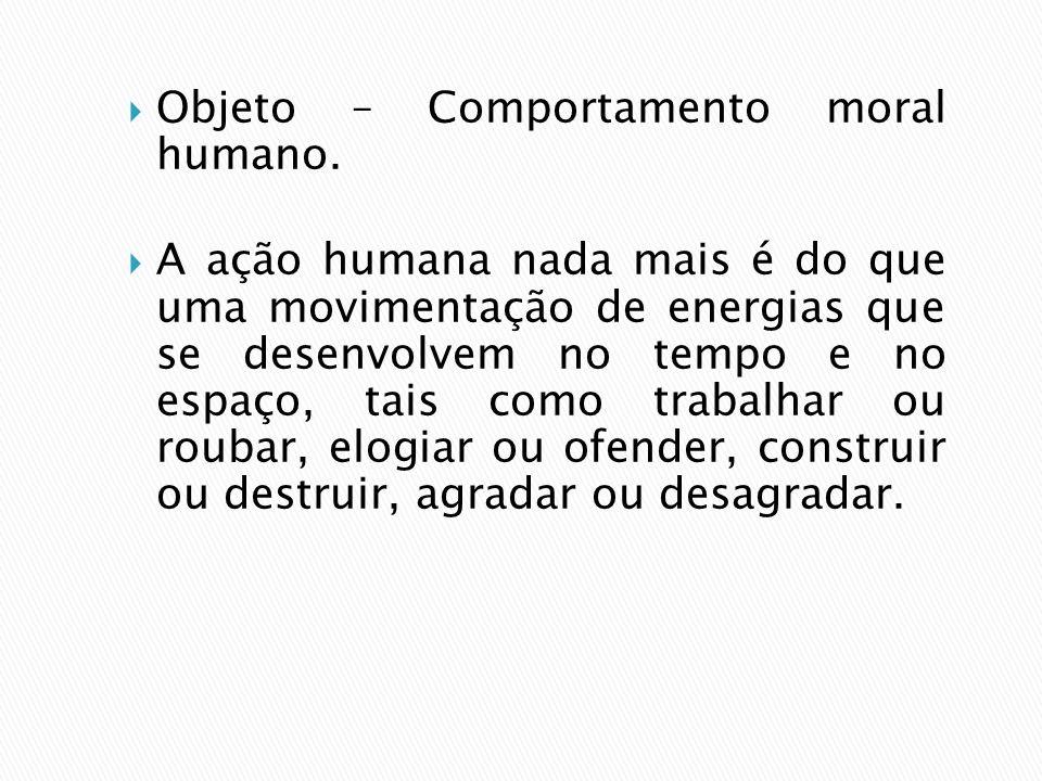 Objeto – Comportamento moral humano.