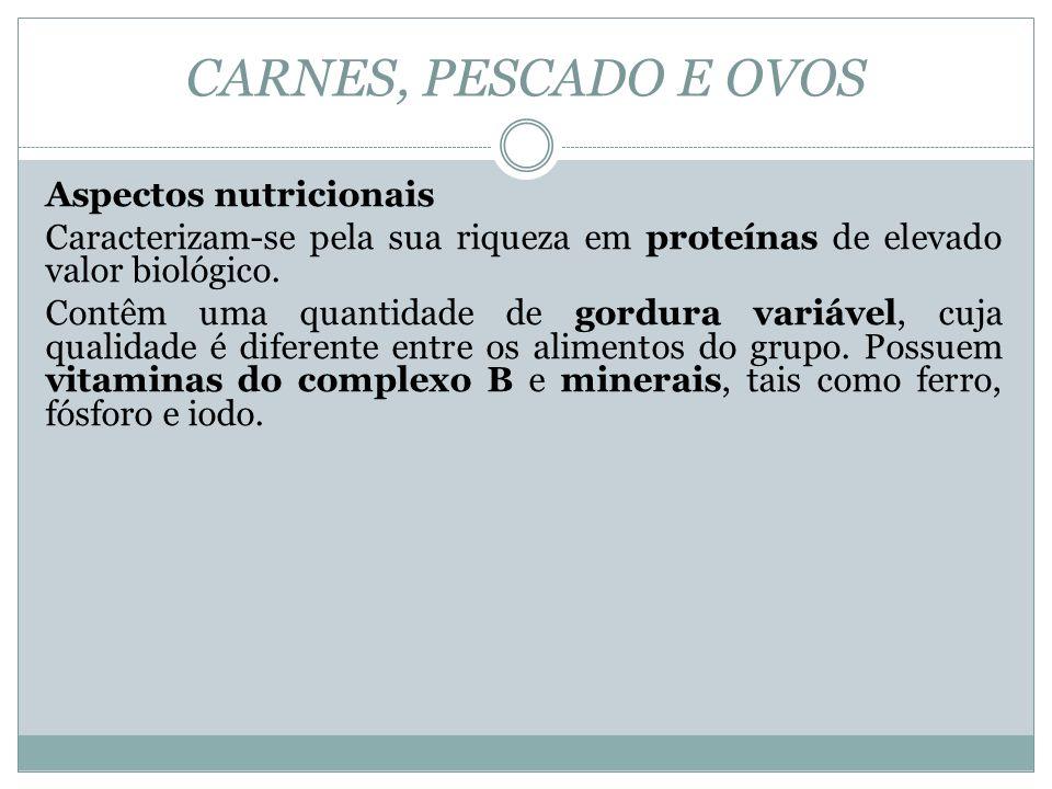 CARNES, PESCADO E OVOS Aspectos nutricionais