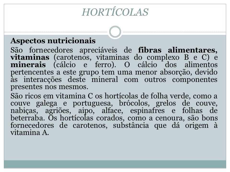 HORTÍCOLAS Aspectos nutricionais