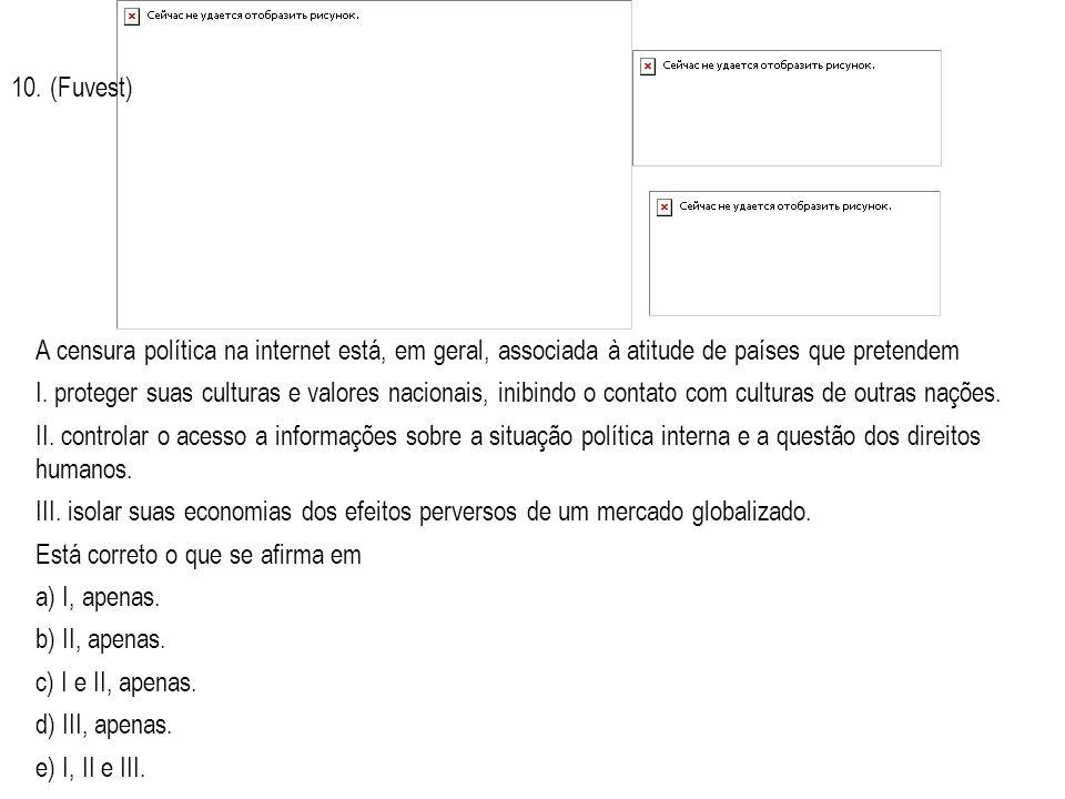 10. (Fuvest) A censura política na internet está, em geral, associada à atitude de países que pretendem.