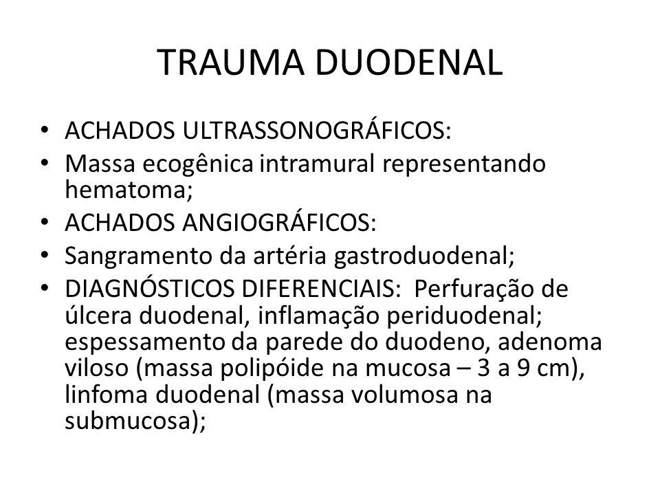 TRAUMA DUODENAL ACHADOS ULTRASSONOGRÁFICOS: