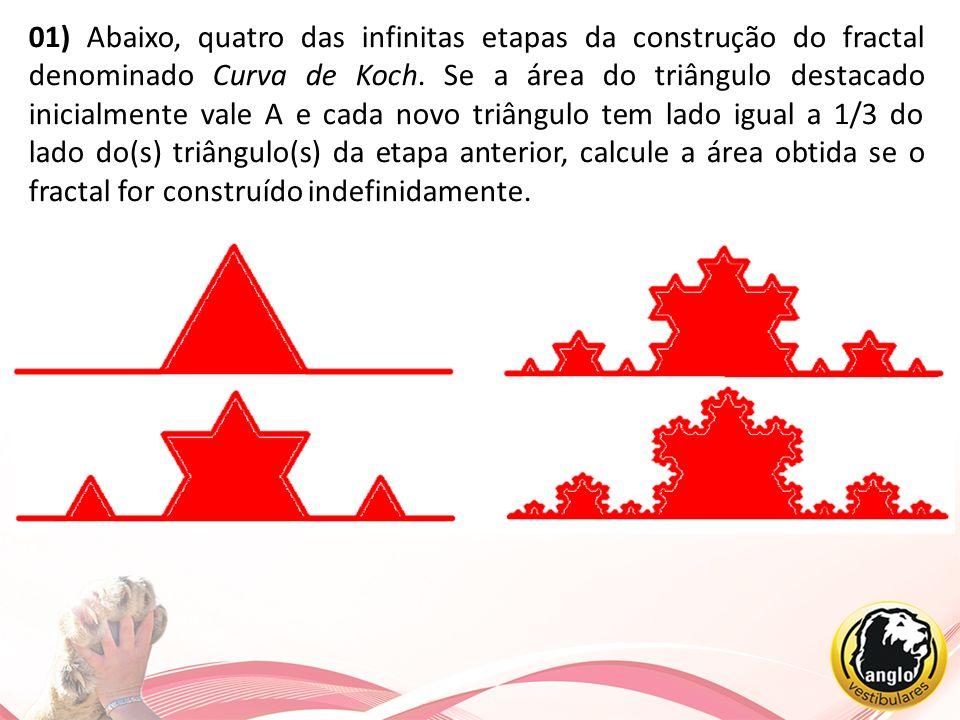 01) Abaixo, quatro das infinitas etapas da construção do fractal denominado Curva de Koch.