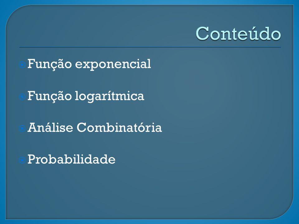 Conteúdo Função exponencial Função logarítmica Análise Combinatória