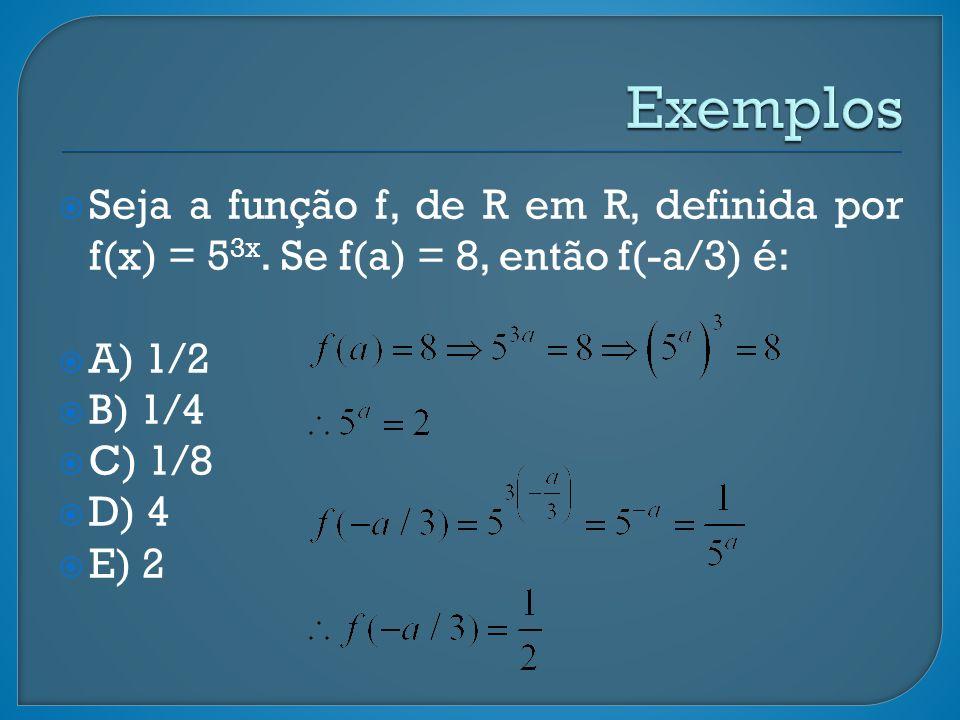 Exemplos Seja a função f, de R em R, definida por f(x) = 53x. Se f(a) = 8, então f(-a/3) é: A) 1/2.