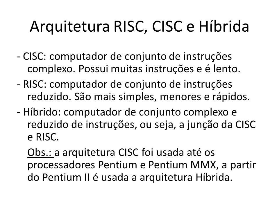 Arquitetura RISC, CISC e Híbrida